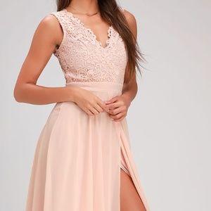 Do Re Mi Blush Pink Lace Backless Maxi Dress